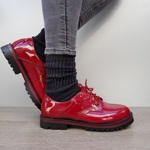 Shoes - Red Vinyl Patent Leather Chunky Oxford Creepers-Q